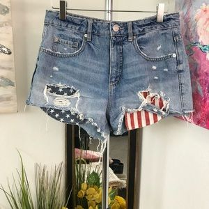 Garage Patriotic Cropped Jeans Shorts